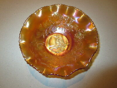 Antique Crown Crystal Marigold Carnival Class Kookaburra ~ Kingfisher Nappy Bowl