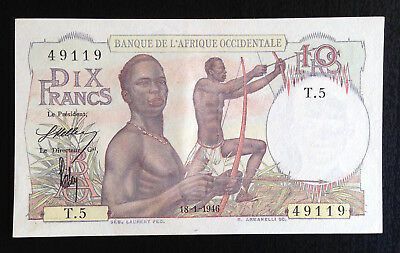 French West Africa, 10 Francs, 18-1-1946, P-37, AU++