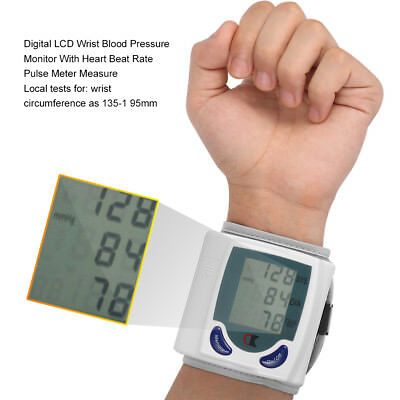Wrist Blood Pressure Monitor Heart Beat Digital Upper Automatic BP Meter Measure