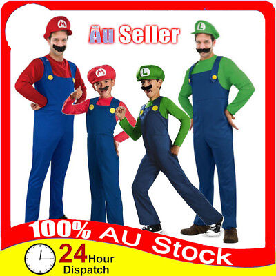 Mens Boy Kids Adult Super Mario Luigi Brothers Costumes Hat Fancy Party