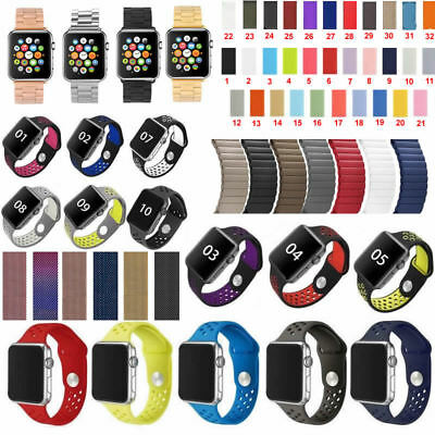 Replacement Sports Apple Watch Band Strap Stainless Steel & Leather & Silicone