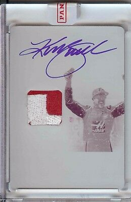 Kurt Busch 1/1 ON CARD Auto RACE USED Patch 2016 National Treasures Plate Card