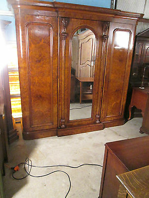 57975  Antique 3 Door Wardrobe Cabinet Dresser