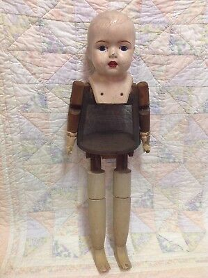"""VTG Composition and Wood 27"""" Large Walker Doll with Spring Legs"""