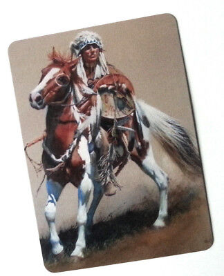 Swap / Playing Card ~ Horse Indian Rider~ Modern Wide ~ Linen
