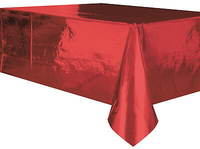 Christmas Party Metallic Red Tablecover Table Cover Cloth Plastic Tablecloth NEW