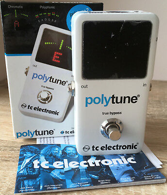TC Electronic PolyTune 2 Guitar Bass Tuner Pedal Chromatic Strobe White