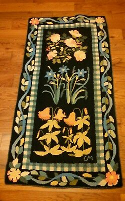 Claire Murray Rug Vintage 1994 Floral flower 100% Wool Hand Hooked Beauty! 30X62