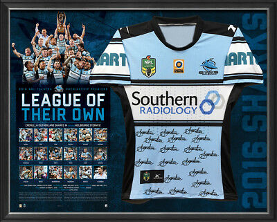 Cronulla Sharks Signed 2016 NRL Premiers PLAYERS CUT Team Jersey Framed COA