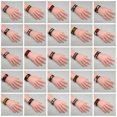 Wristband Rubber Silicone Bracelet Cuff Rock Band Music Heavy Metal Punk Gift