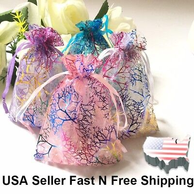 """3.5x5"""" Coralline Organza Wedding Party Favor Gift Bags Jewelry Pouch 50/100/200"""