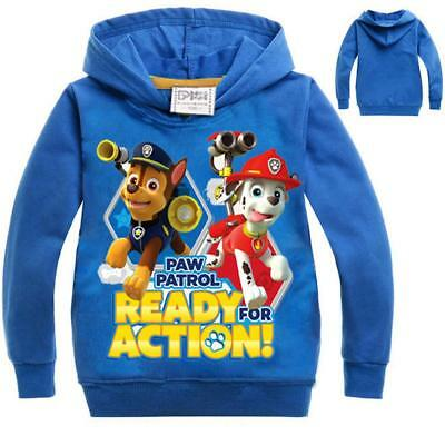2017 Kids Paw Patrol Hoodie Hooded Jumper Top Sweatshirt Thin Age 2-10Y