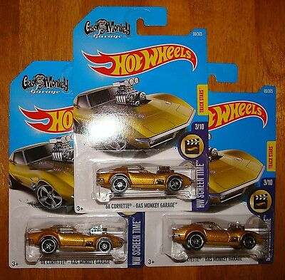 2017 Hot Wheels Gas Monkey Garage 68 Corvette Lot of 3 new Gold Metal FlakeVette