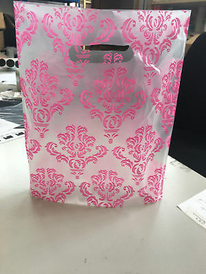 """30 BAGS OF 12x15"""" DAMASK PINK ON TRANSPARENT PLASTIC CARRIER BAGS / BOUTIQUE"""