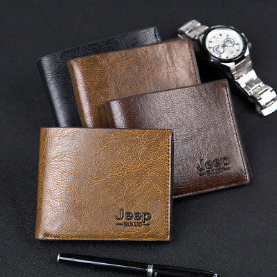 Mens Jeep Leather Credit Card Holder Wallet Bifold ID Cash Coin Purse Clutch 212