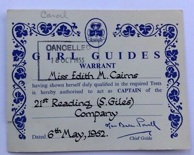 Girl Guide Captains Warrant 1952 Card
