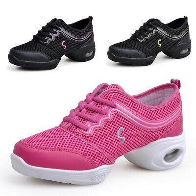 Women Jazz Dance Shoes Net Mesh Surface Breathable Casual Soft Athletic Sneakers