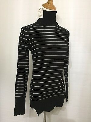 1dddd7ed5f New Zara Knit Womens Black White Striped Long Sleeve Turtleneck Fitted  Sweater
