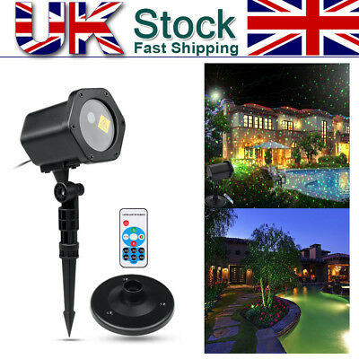 Xmas W/Remote Moving R&G Laser Light Garden Lawn Decor Christmas Projector Lamp