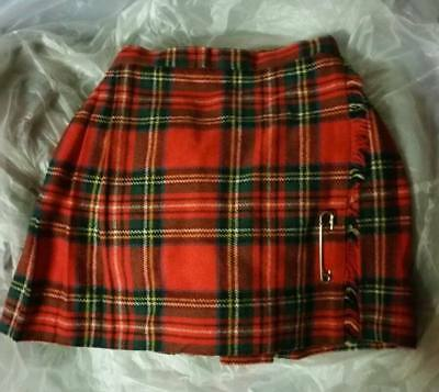 "SWEET Vintage girls Stewart Royal Tartan Plaid Kilt 21"" Waist"