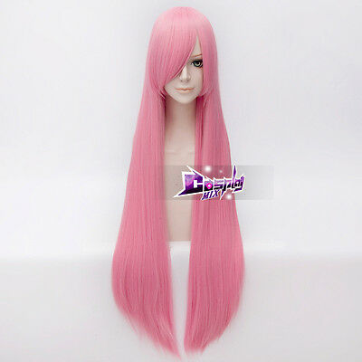 100CM Aqua Pink Long Straight Basic Heat Resistant Cosplay Wig +Free Cap