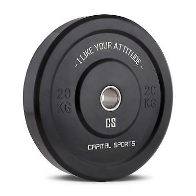 Capital Sports Elongate 20 Bumper Plate Rubber Weight Plates 20 Kg * Free P&p Uk