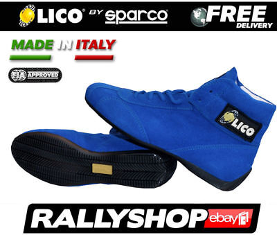FIA Lico By Sparco Suede Shoes BLUE Low Fire shoes, size 39 Rally Race Boots