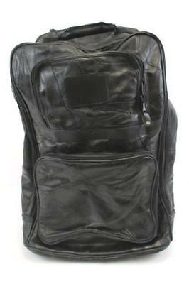 Genuine Leather Rolling Suitcase Carry On Standing Travel Overnight Bag