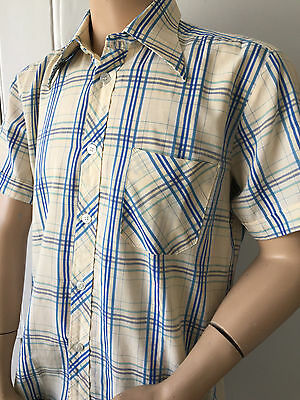 Short Sleeve Blue Checked 70's Retro Shirt Dagger Collar Hunter Vtg 46in x 16in
