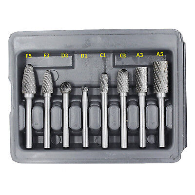 HFS 8 Pieces Double Cut Carbide Rotary Burr Set With 1/4-Inch Shank