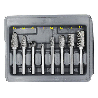 HFS(R) 8 Pieces Double Cut Carbide Rotary Burr Set With 1/4-Inch Shank