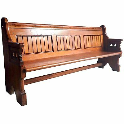 Stunning Antique Gothic Pitch Pine Church Pew 19th Century Gothic Revival 1890