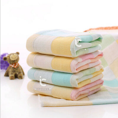 28*28cm 100% Cotton Muslin Towel Handkerchiefs 2 Layers Wipe Towel Face Green