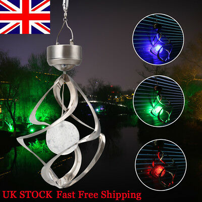 1x WIND SPINNING SOLAR POWERED COLOR CHANGING LED OUTDOOR GARDEN SPIRAL LIGHT UK