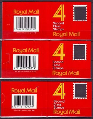 QE II GB 3 BOOKLETS x 4  2nd CLASS STAMPS 2x13p 1x 14p MNH VERY LOW SHIPPING!