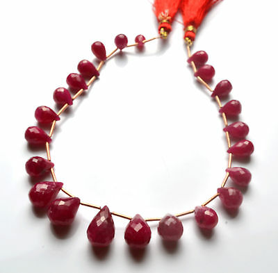 """150 CT.9.5"""" GENUINE Red Ruby Faceted TEAR DROP SHAPE BEADS Briolettes 8 - 12 MM"""