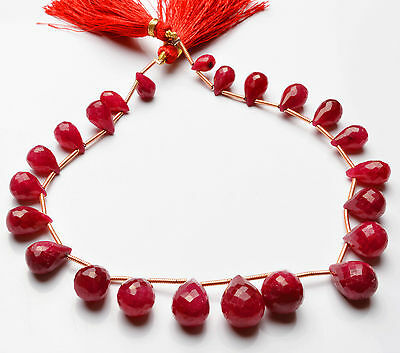 """142 CT.9"""" GENUINE Red Ruby Faceted TEAR DROP SHAPE BEADS Briolettes 9 TO 13 MM"""