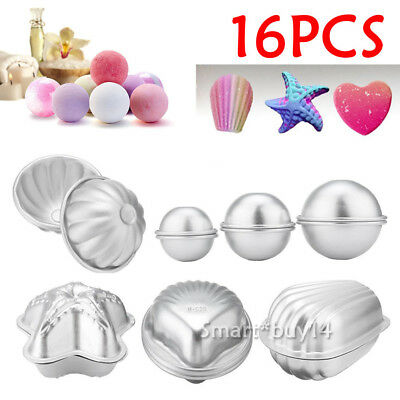 NEW 16Pcs Aluminum Ball Sphere Bath Bomb Mold Mould Cake Stainless Steel Plastic