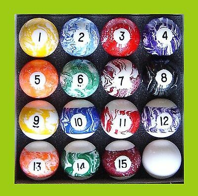 """MARBLEIZED Numbered 1 to 15 - 2"""" Pool Balls rrp  $139- ............"""