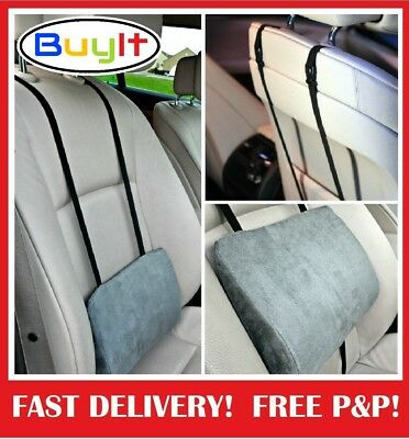 Support Pillow Cushion  Lower Back Lumbar For Car Seat & Office Chair Grey