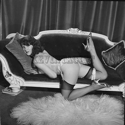 Vintage Nude Negative PERKY BRIT * MARIA CLARENCE * STOCKINGS