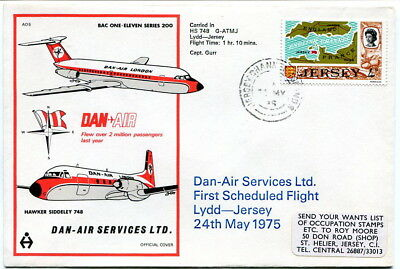 First flight 1975 Dan Air illustrated cover Lydd to Jersey