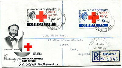 Gibraltar 1963 Red Cross pair on illustrated registered first day cover to Dover