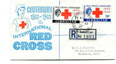 Gibraltar 1963 Red Cross pair on illustrated registered first day cover to Hull