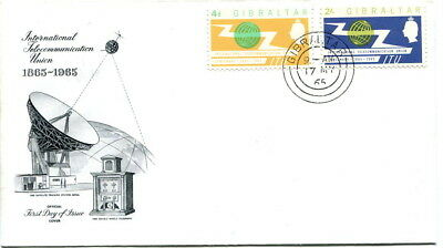 Gibraltar 1965 I.T.U. pair on unaddressed illustrated first day cover