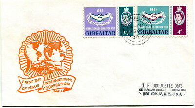 Gibraltar 1965 International Co-operation Year on illustrated f.d.c. to U.S.A.