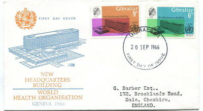 Gibraltar 1966 W.H.O. Headquarters set on illustrated first day cover to UK