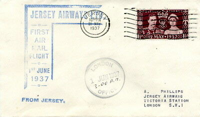 Jersey Airways first airmail flight cover 1937 to London