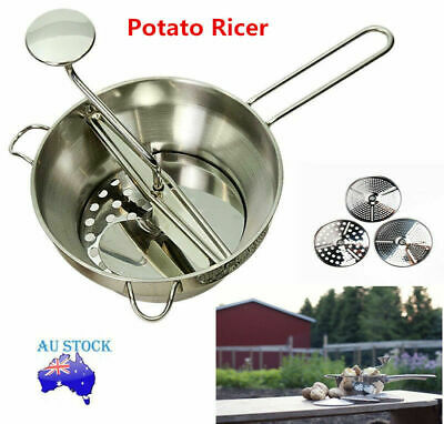 Stainless Steel Multipurpose Food Mill Potato Ricer W/3 Milling Discs Dishwasher