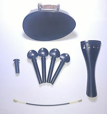 Ebony Violin Set.Flesch Chinrest Round tailpiece Swiss pegs endpin